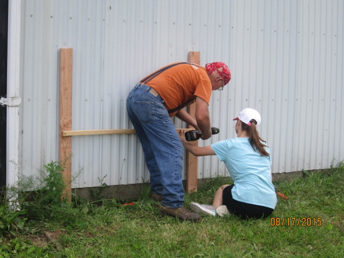 If you have the opportunity to use something that has been standing for, oh, fifty years or so don't turn it down.  Because we could see it from the house and because it fits into my larger plans I decided to build this onto the back of a freestanding garage.  My helper there is Katherine. I