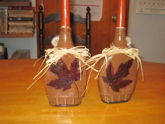 maple syrup bottle candle holders